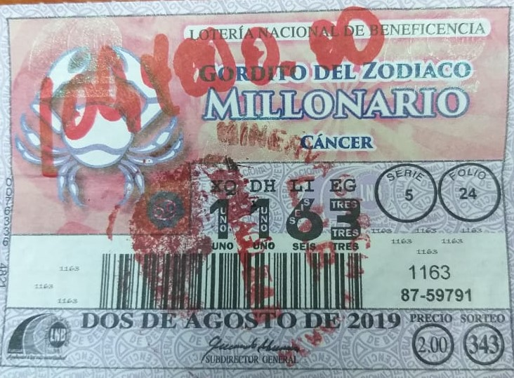 BILLETE PREMIADO CON GORDITO MILLONARIO SIGNO CANCER
